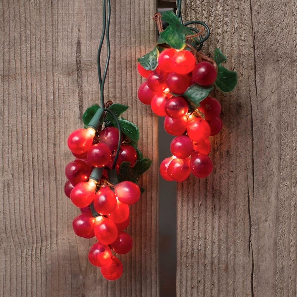 Grape String Lights, 5 Clusters, Indoor, Outdoor, 6 Feet, Plug In, Red Pertaining To Outdoor Hanging Grape Lights (View 13 of 15)