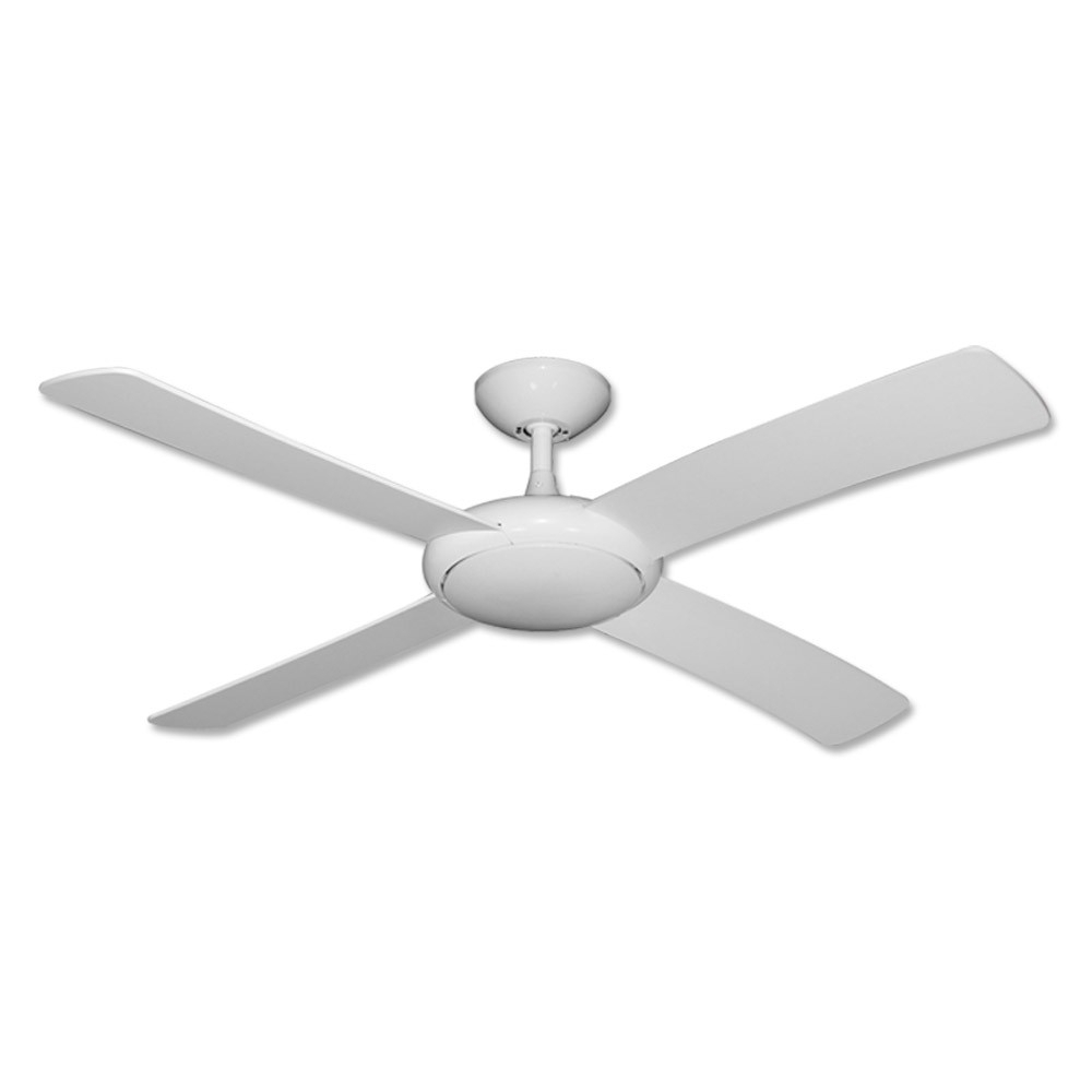 "Inspiration about Gulf Coast Luna Fan – 52"" Modern Outdoor Ceiling Fan – Pure White Finish Intended For Outdoor Ceiling Fans With Flush Mount Lights (#1 of 15)"