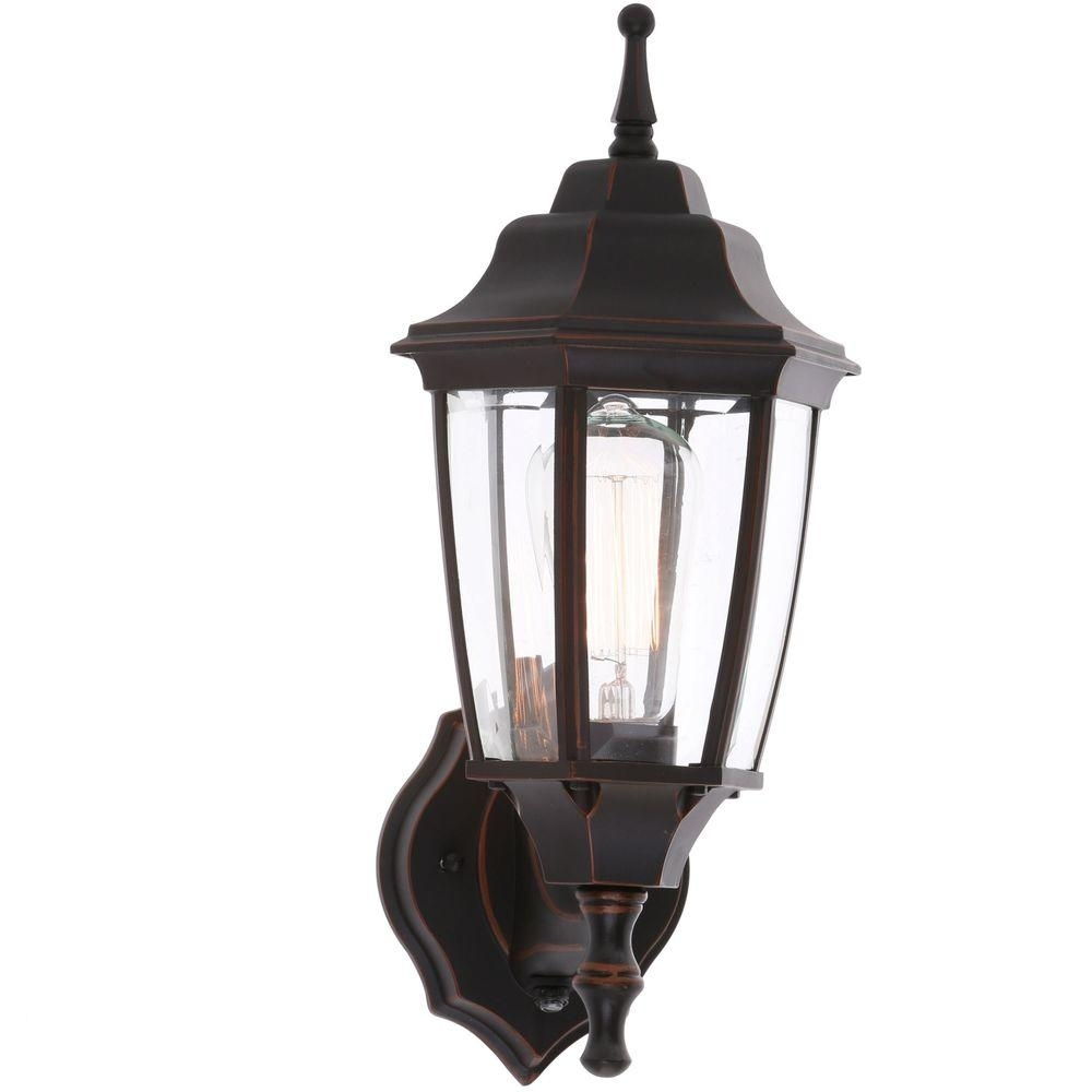 Hampton Bay 1 Light Black Dusk To Dawn Outdoor Wall Lantern Bpp1611 Throughout Dusk To Dawn Outdoor Wall Lighting Fixtures (#9 of 15)