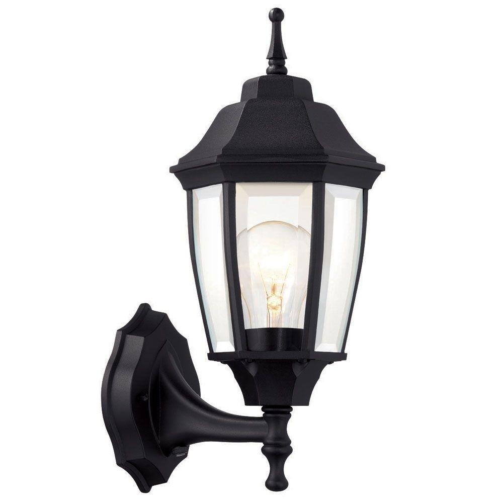 Hampton Bay 1 Light Black Dusk To Dawn Outdoor Wall Lantern Regarding Dusk To Dawn Outdoor Wall Mounted Lighting (#8 of 15)