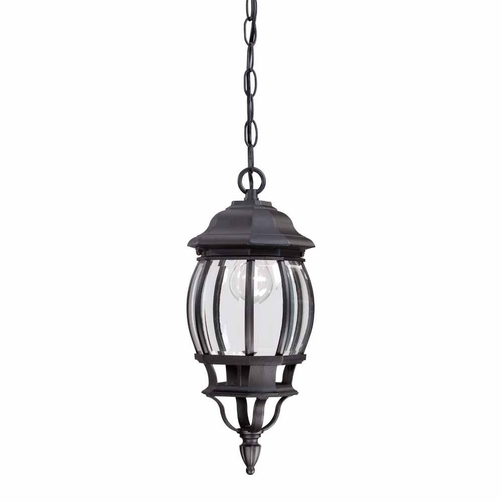 Hampton Bay 1 Light Black Outdoor Hanging Lantern Hb7030 05 – The For Outdoor Hanging Light Fixtures In Black (View 6 of 15)