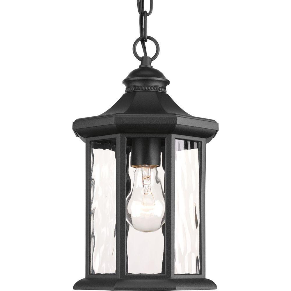 Hampton Bay 1 Light Black Outdoor Hanging Lantern Hb7030 05 – The Inside Electric Outdoor Hanging Lanterns (View 7 of 15)