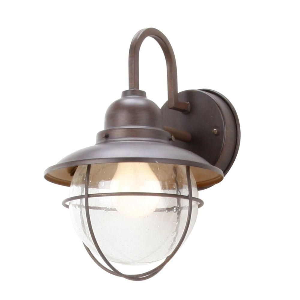 Hampton Bay 1 Light Brick Patina Outdoor Cottage Lantern | Bricks Within Hampton Bay Outdoor Lighting And Lamps (#4 of 15)