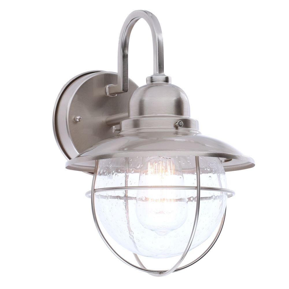 Hampton Bay 1 Light Brushed Nickel Outdoor Cottage Lantern Boa1691H With Brushed Nickel Outdoor Ceiling Lights (#3 of 15)