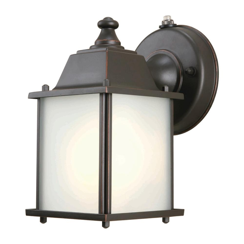 Hampton Bay 1 Light Oil Rubbed Bronze Outdoor Dusk To Dawn Wall Intended For Dusk Till Dawn Outdoor Wall Lights (#11 of 15)