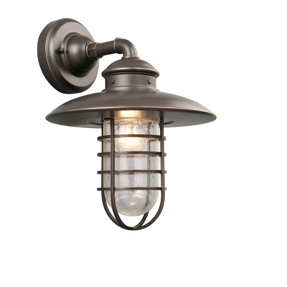Hampton Bay 1 Light Oil Rubbed Bronze Outdoor Wall Lantern Dyx1691A In Beach Outdoor Wall Lighting (#8 of 15)