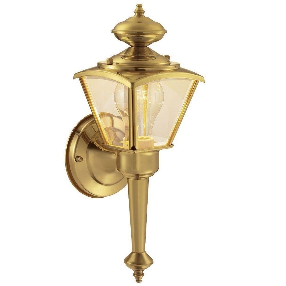 Hampton Bay 1 Light Polished Brass Outdoor Wall Lantern Wb0322 For In Brass Outdoor Wall Lighting (#9 of 15)