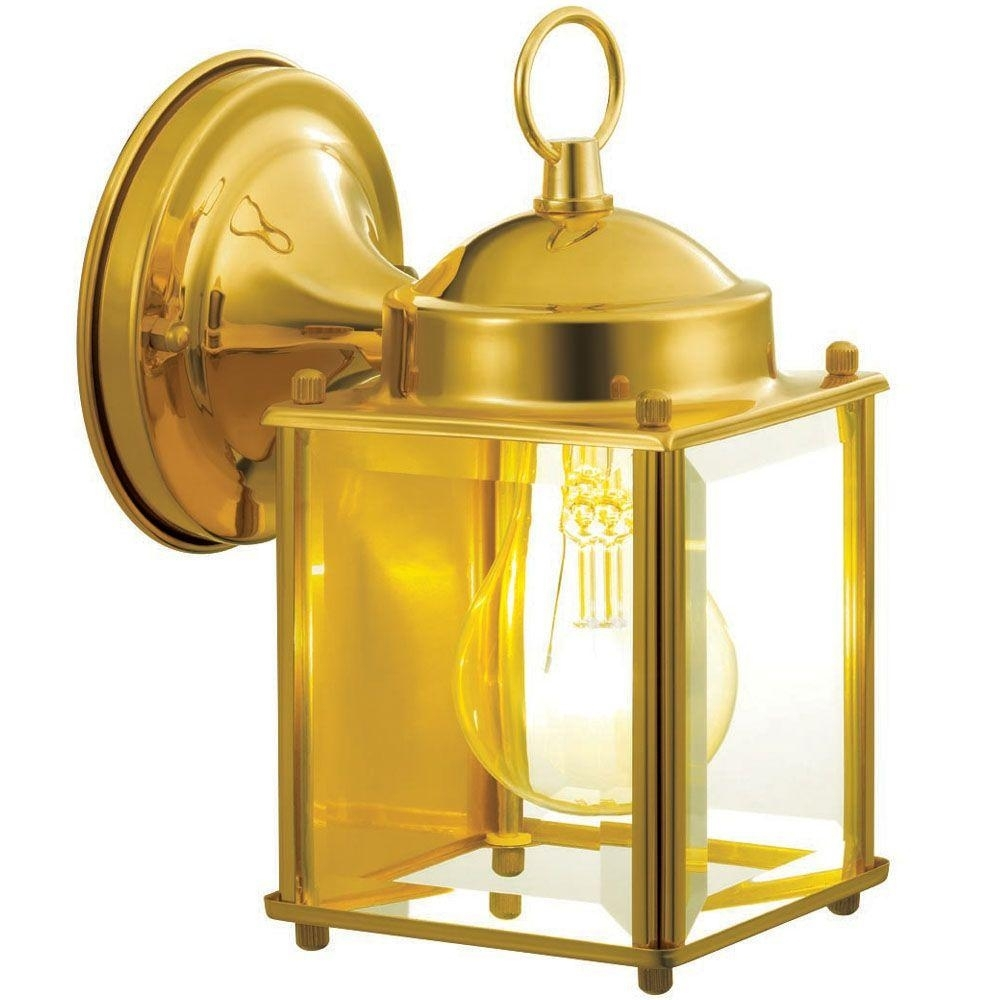 Hampton Bay 1 Light Polished Brass Outdoor Wall Mount Lantern For Polished Brass Outdoor Wall Lighting (#6 of 15)