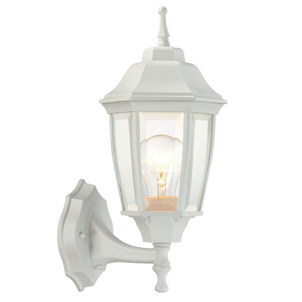 Hampton Bay 1 Light White Outdoor Dusk To Dawn Wall Lantern Bpp1611 Throughout White Outdoor Wall Lights (#4 of 15)