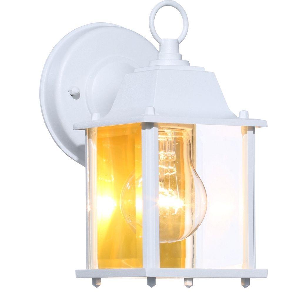 Hampton Bay 1 Light White Outdoor Wall Lantern Bpm1691 Wht – The Pertaining To White Outdoor Wall Lights (#5 of 15)
