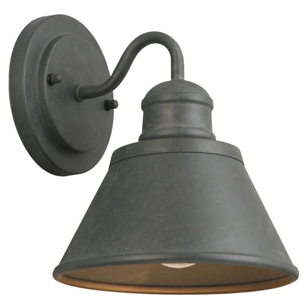 Hampton Bay 1 Light Zinc Outdoor Wall Lantern Hsp1691A – The Home Depot In Outdoor Wall Garage Lights (#7 of 15)