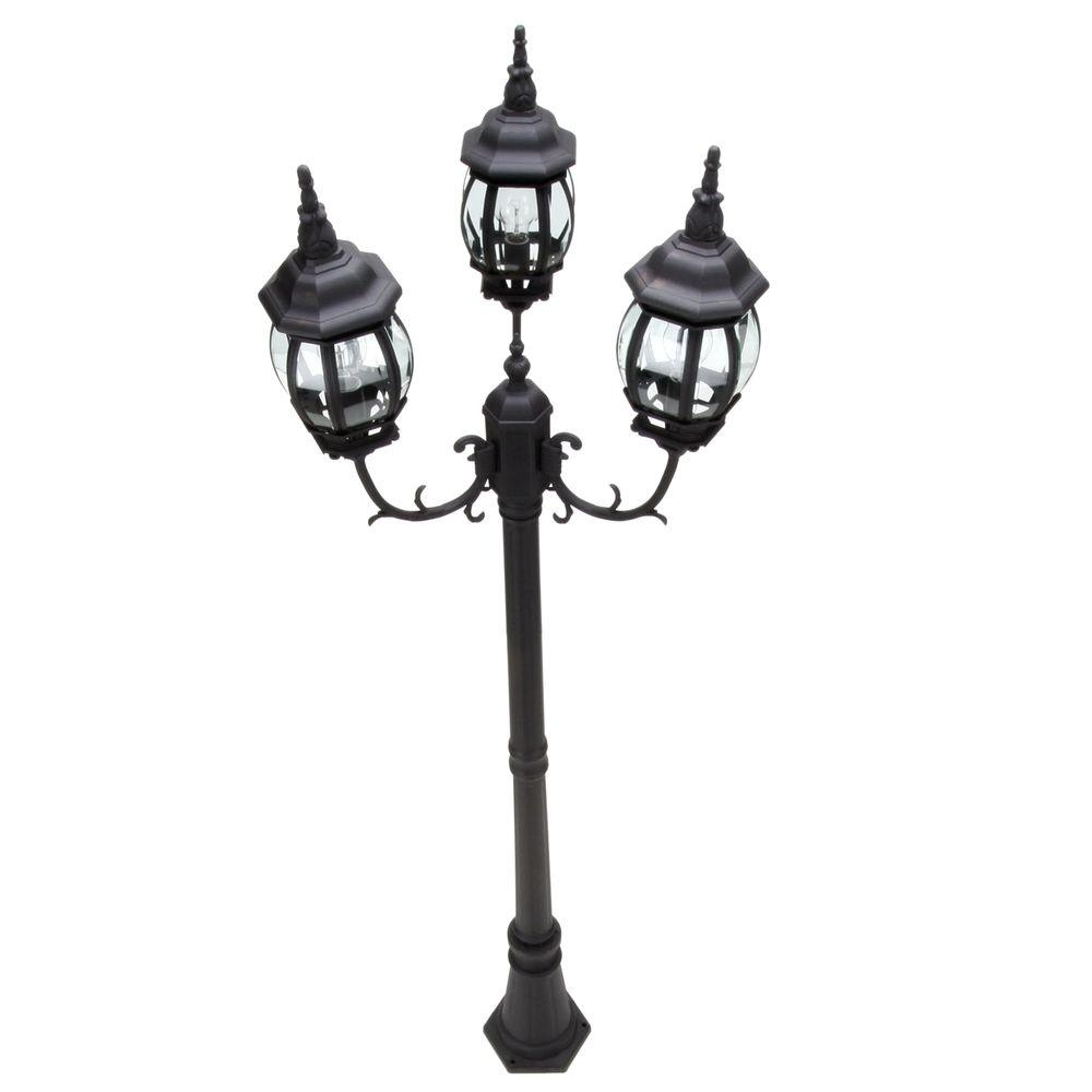 Hampton Bay 3 Head Black Outdoor Post Light Hb7017P 05 – The Home Depot With Regard To Modern Led Post Lights At  Home Depot (#6 of 15)