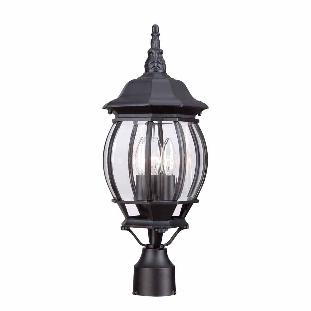 Hampton Bay 3 Light Black Outdoor Lamp Hb7029 05 – The Home Depot Throughout Hampton Bay Outdoor Lighting And Lamps (#10 of 15)