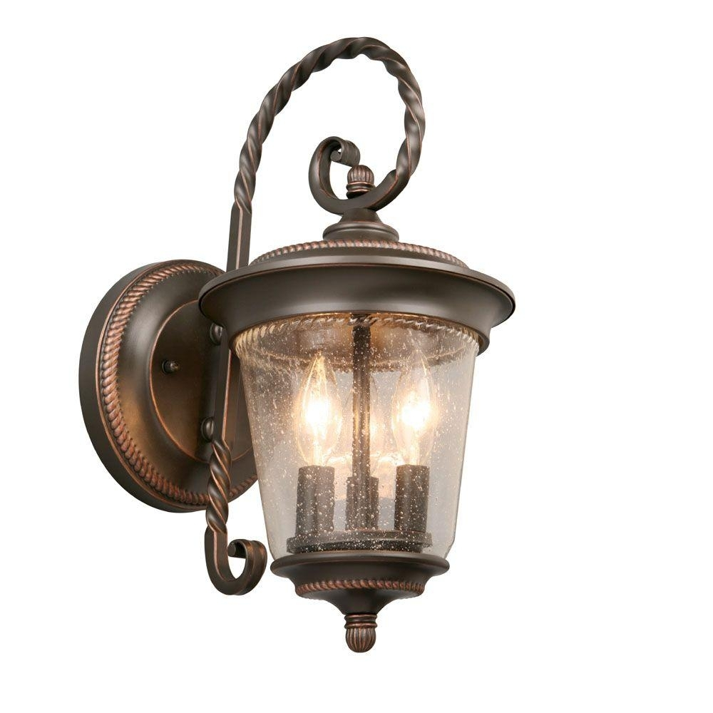 Hampton Bay 3 Light Oil Rubbed Bronze Large Outdoor Wall Lantern With Large Outdoor Wall Lighting (#10 of 15)