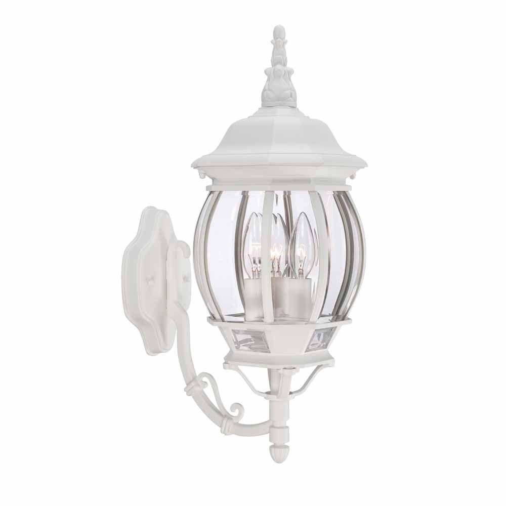 Hampton Bay 3 Light White Outdoor Wall Lantern Hb7028 06 – The Home Within White Outdoor Wall Lights (#6 of 15)