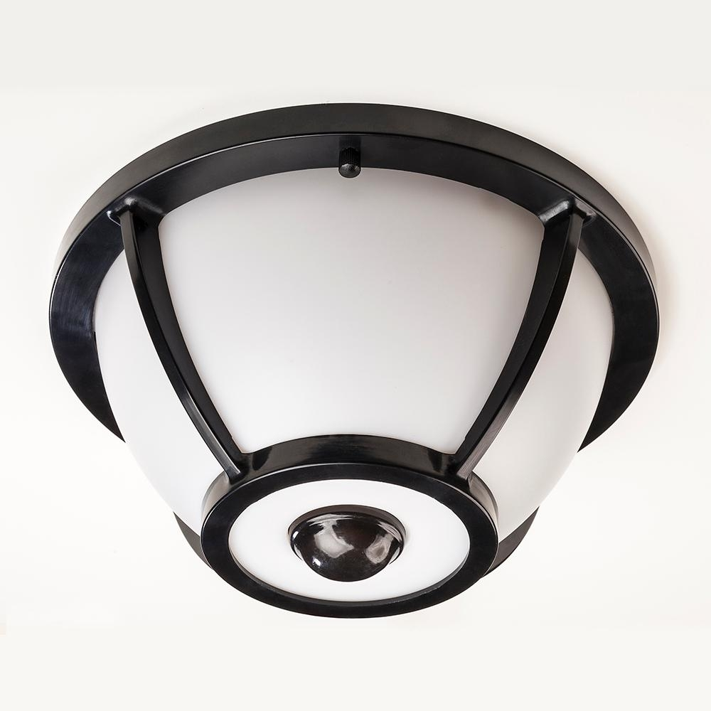 Hampton Bay 360 Degree Matte Black Round Integrated Led Motion Regarding Outdoor Motion Sensor Ceiling Mount Lights (View 4 of 15)