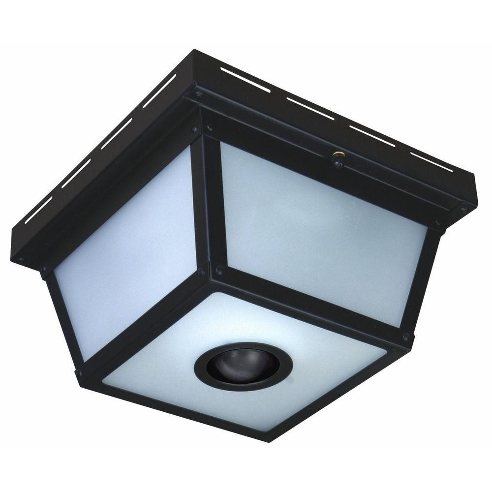 Hampton Bay 360° Square 4 Light Black Motion Sensing Outdoor Flush Pertaining To Outdoor Ceiling Lights At Home Depot (#4 of 15)