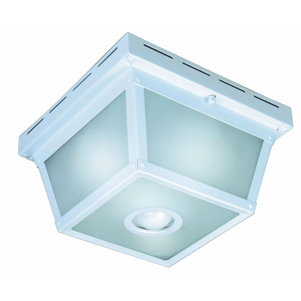 Hampton Bay 360° Square 4 Light Black Motion Sensing Outdoor Flush Within Outdoor Ceiling Mounted Security Lights (#7 of 15)