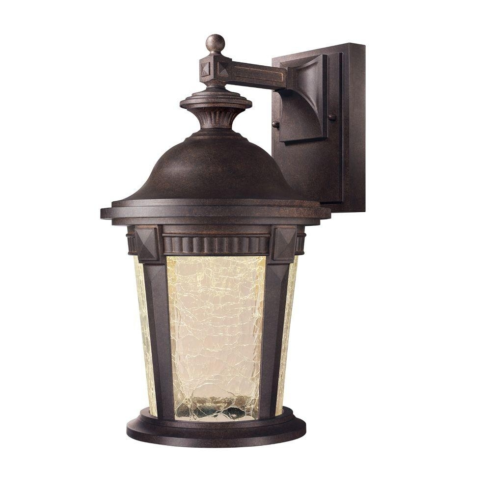 Hampton Bay Basilica Collection Mystic Bronze Outdoor Led Wall Within Outdoor Wall Light Glass (#5 of 15)