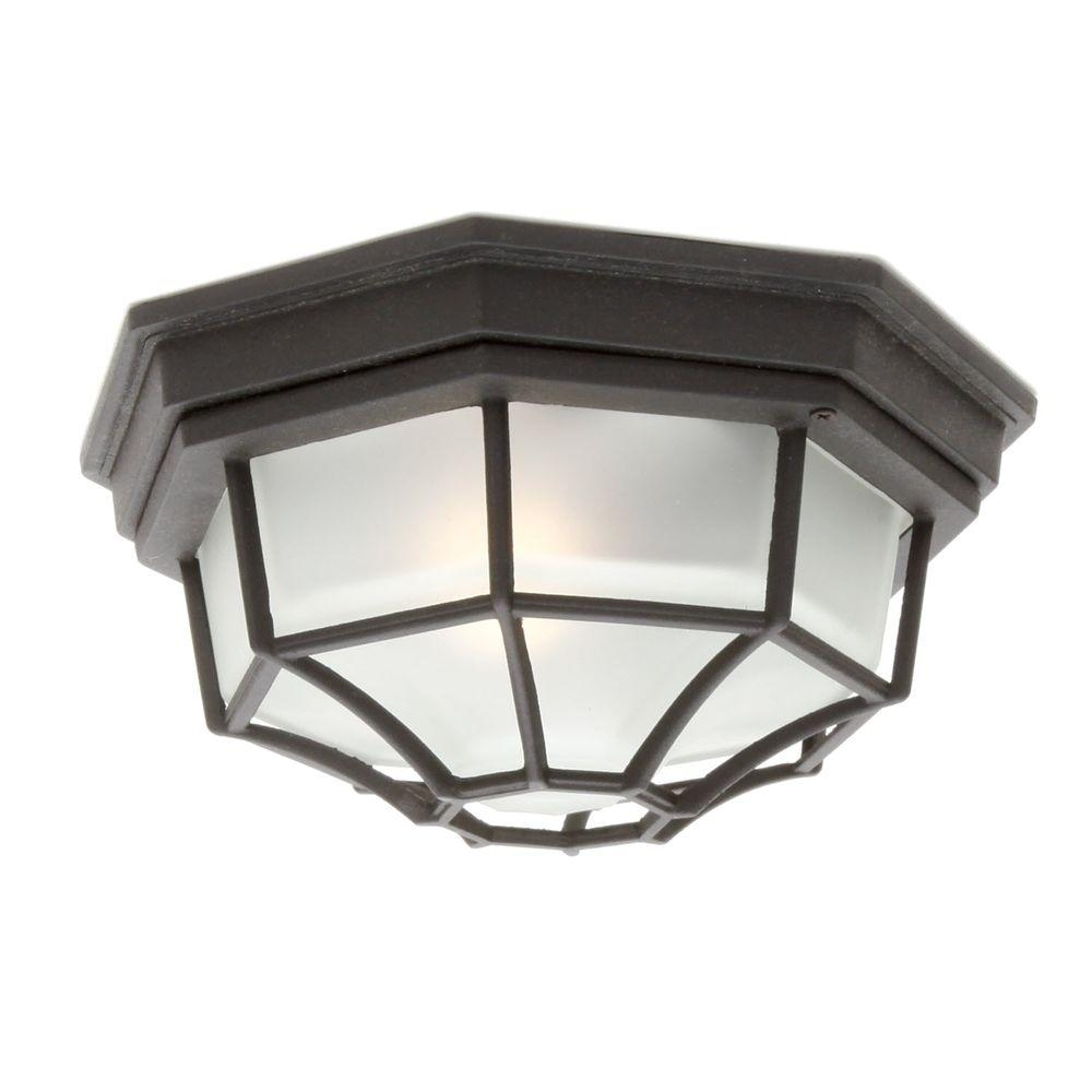 Hampton Bay Black Outdoor Flushmount Hb7072P 05 – The Home Depot For Outdoor Close To Ceiling Lights (#6 of 15)