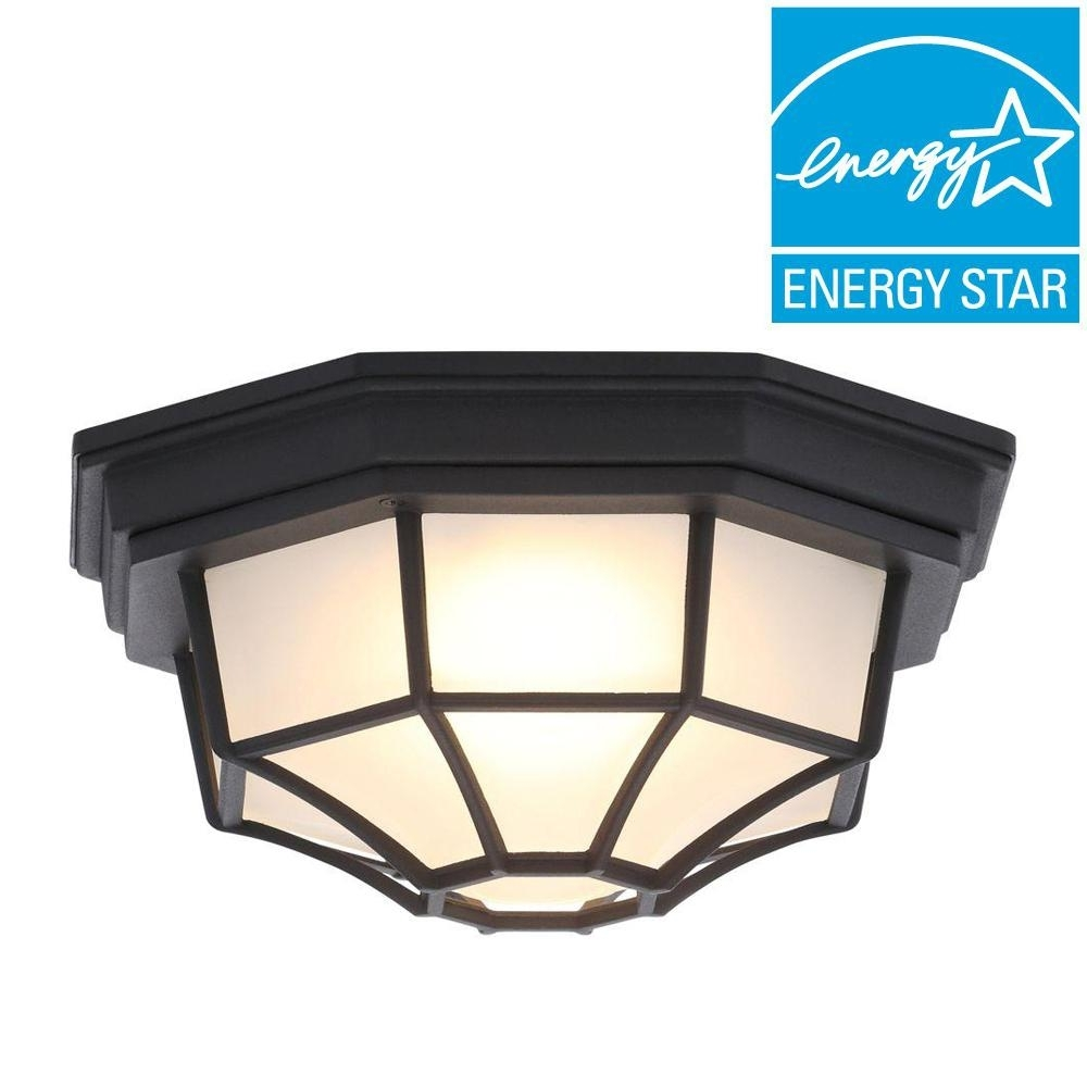 Hampton Bay Black Outdoor Led Flushmount Hb7072Led 05 – The Home Depot Within Outdoor Ceiling Mounted Security Lights (#8 of 15)