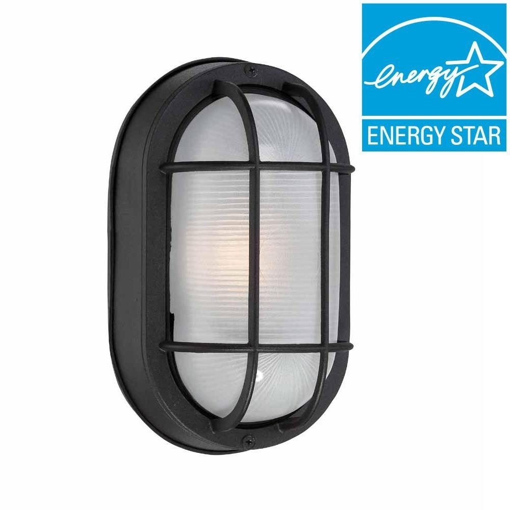 Hampton Bay Black Outdoor Led Wall Lantern Hb8822Led 05 – The Home Depot Within Outdoor Wall Mount Led Light Fixtures (#5 of 15)