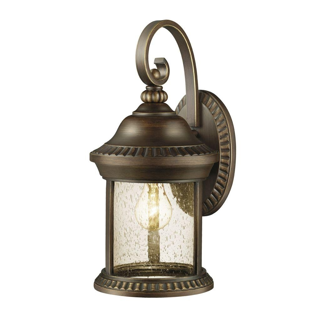 Hampton Bay Cambridge Collection 1 Light Essex Bronze Outdoor Wall With Regard To Large Outdoor Wall Light Fixtures (#7 of 15)