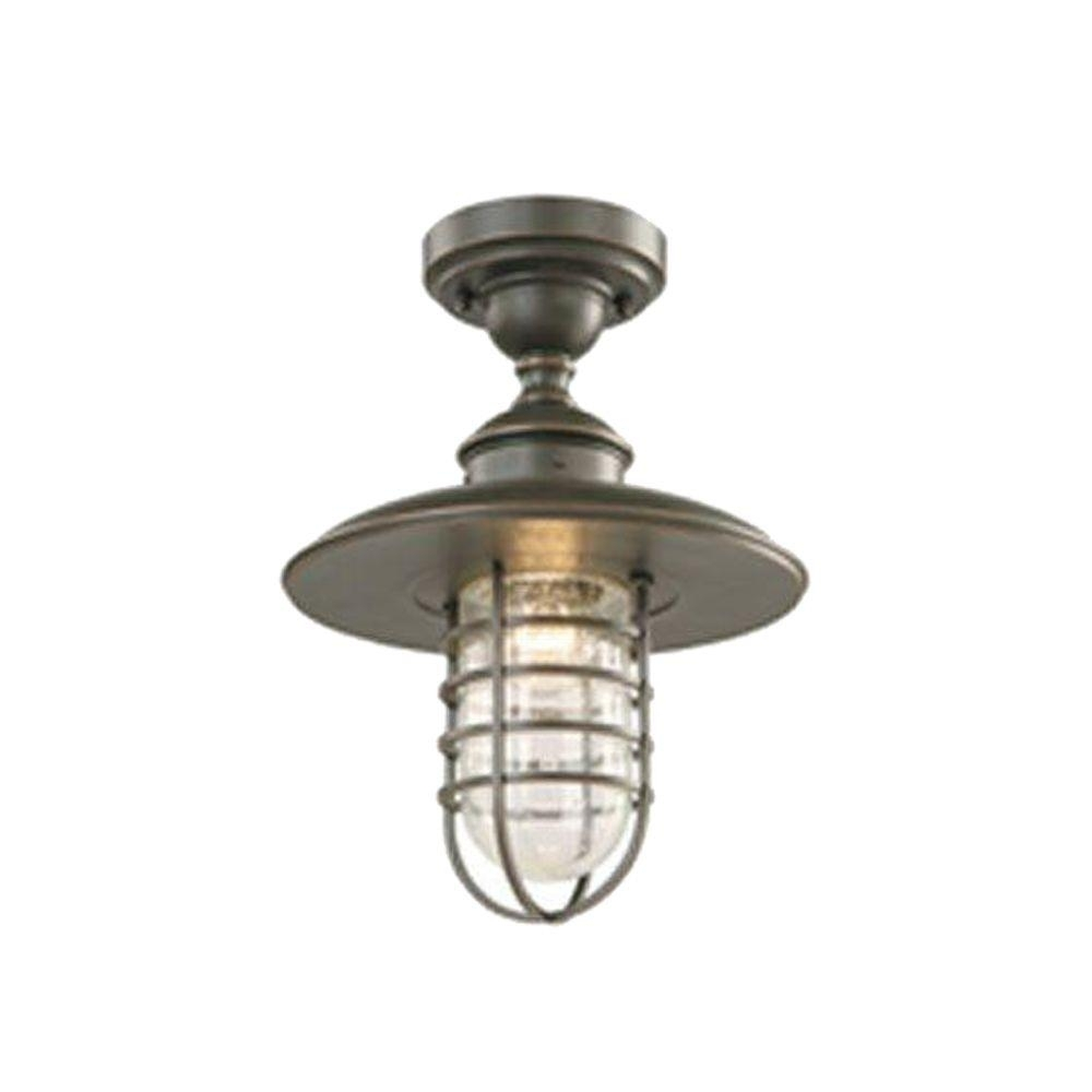 Hampton Bay Dual Purpose 1 Light Outdoor Hanging Oil Rubbed Bronze Intended For Outdoor Close To Ceiling Lights (#7 of 15)