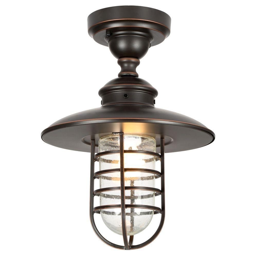 Hampton Bay Dual Purpose 1 Light Outdoor Hanging Oil Rubbed Bronze Within Outdoor Ceiling Lights At Home Depot (#6 of 15)