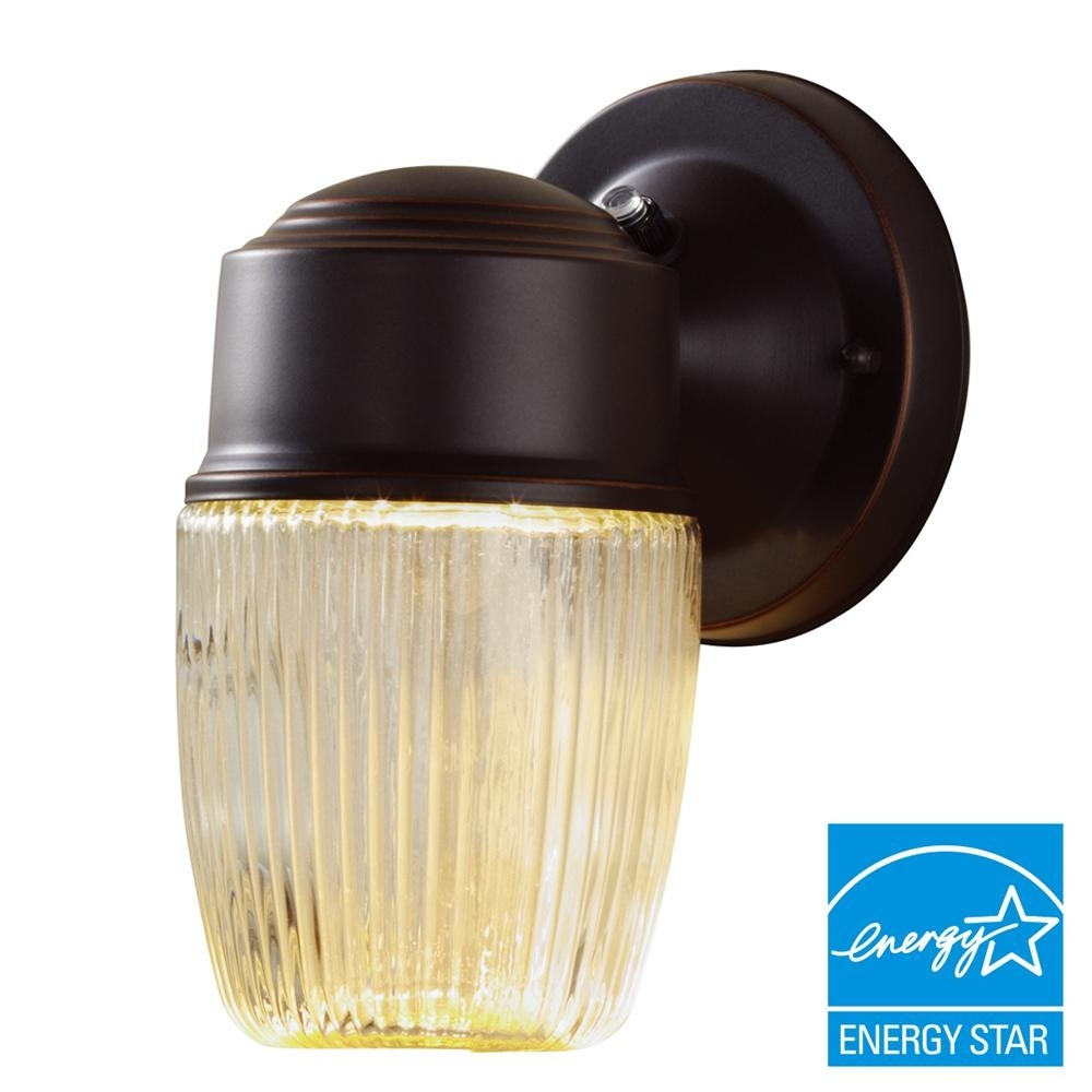 Hampton Bay Dusk To Dawn Oil Rubbed Bronze Led Outdoor Wall Lantern With Regard To Dawn Dusk Outdoor Wall Lighting (#11 of 15)