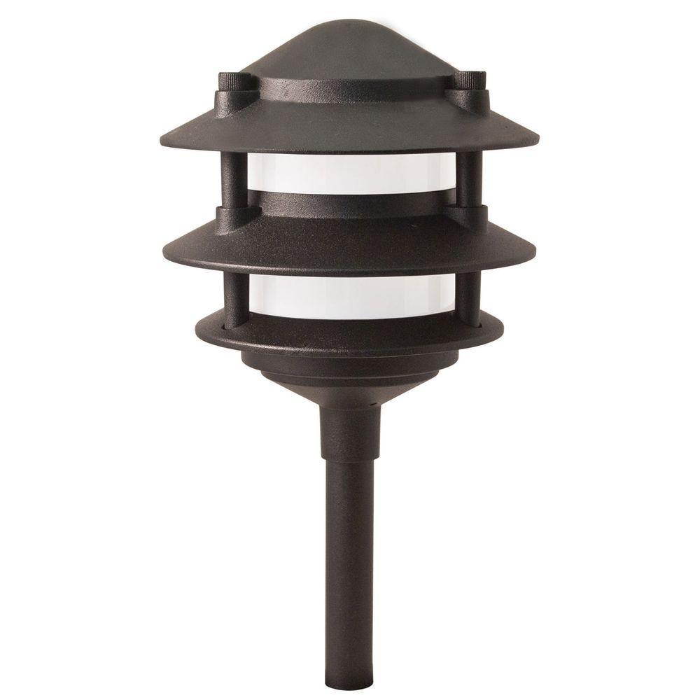 Hampton Bay Low Voltage 11 Watt Black Outdoor Incandescent 3 Tier Within Modern Outdoor Light Fixtures At Home Depot (#6 of 15)