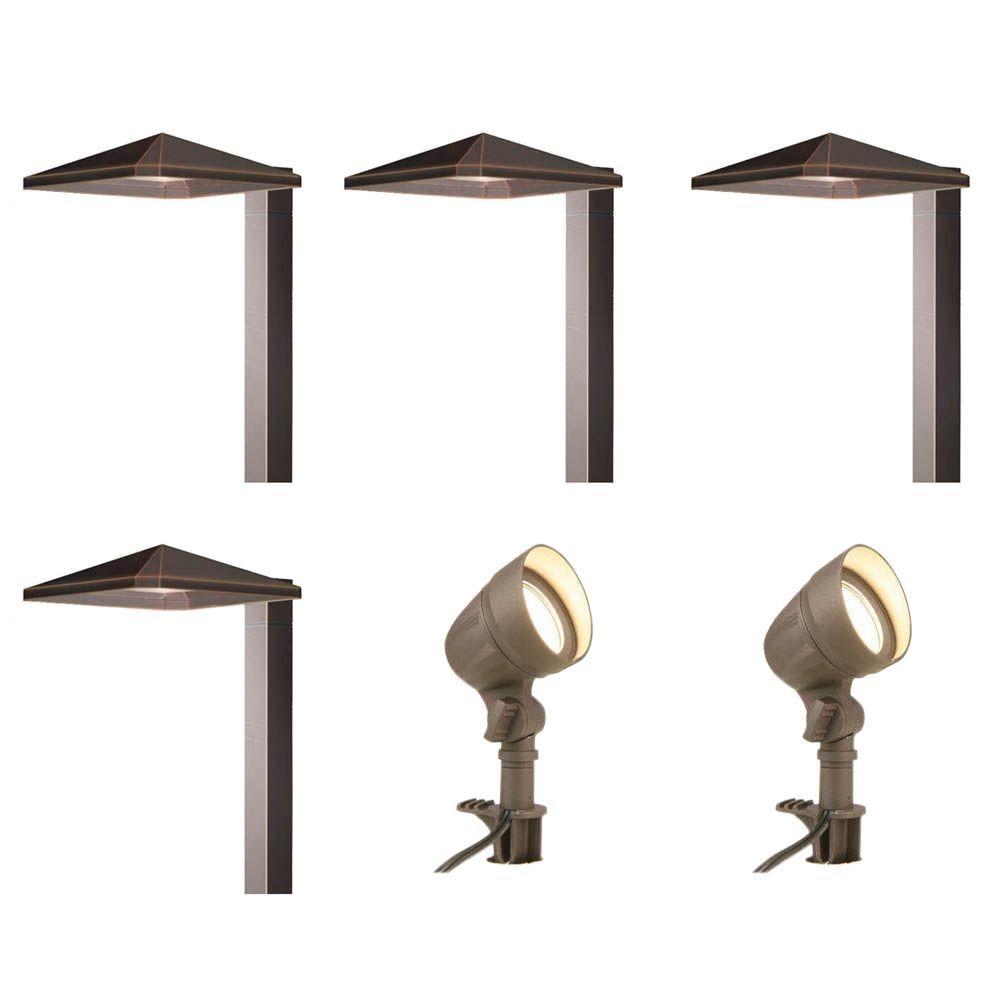 Hampton Bay Low Voltage Bronze Outdoor Integrated Led Landscape Regarding Low Voltage Outdoor Lighting (#3 of 15)