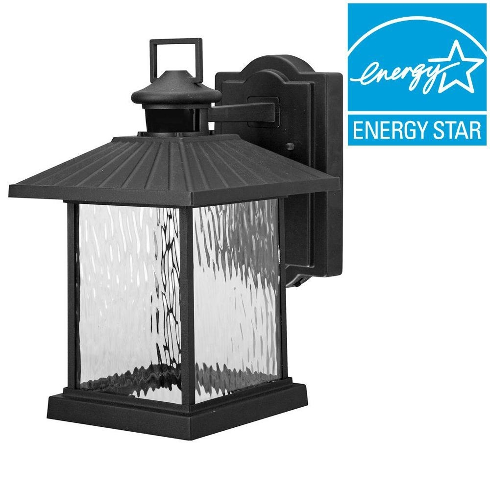 Hampton Bay Lumsden Outdoor Black Led Motion Sensor Wall Mount With Motion Sensor Outdoor Hanging Lights (#4 of 15)