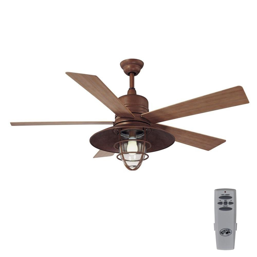 Popular Photo of Outdoor Ceiling Fans With Copper Lights