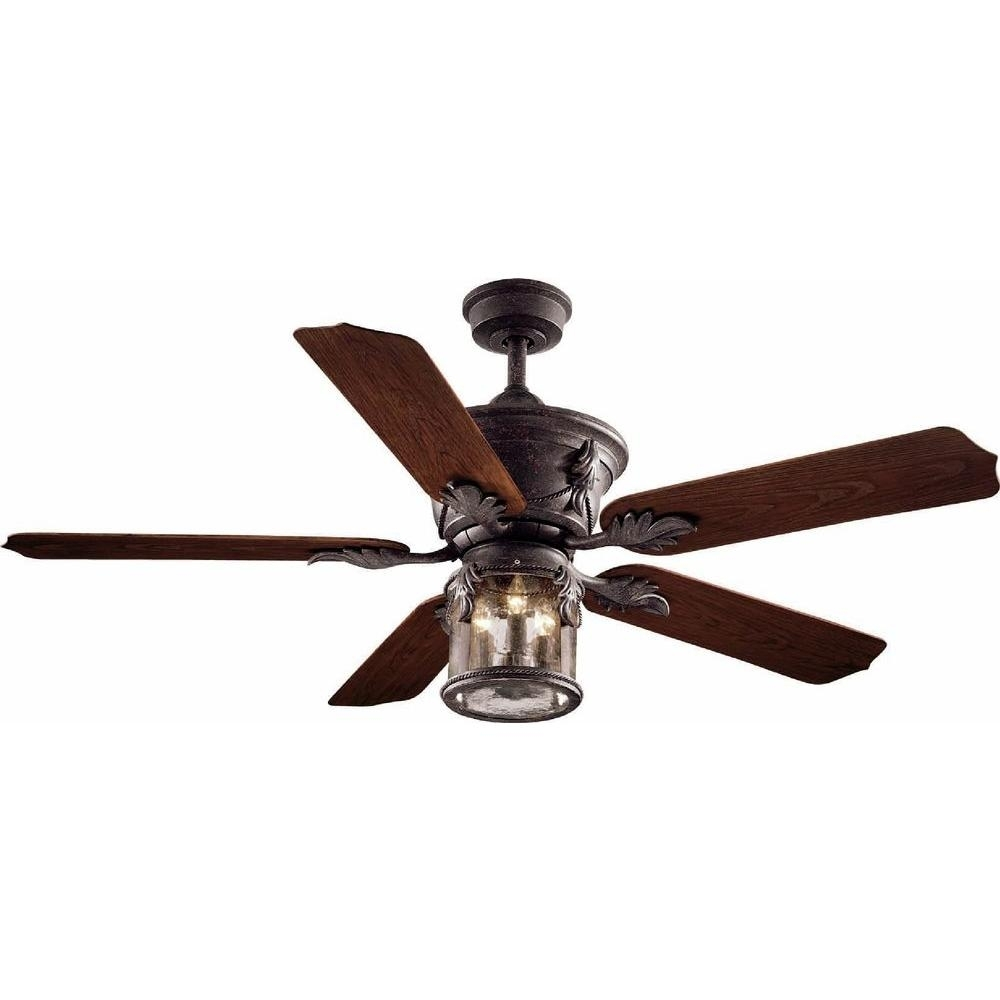 Popular Photo of Bronze Outdoor Ceiling Fans With Light
