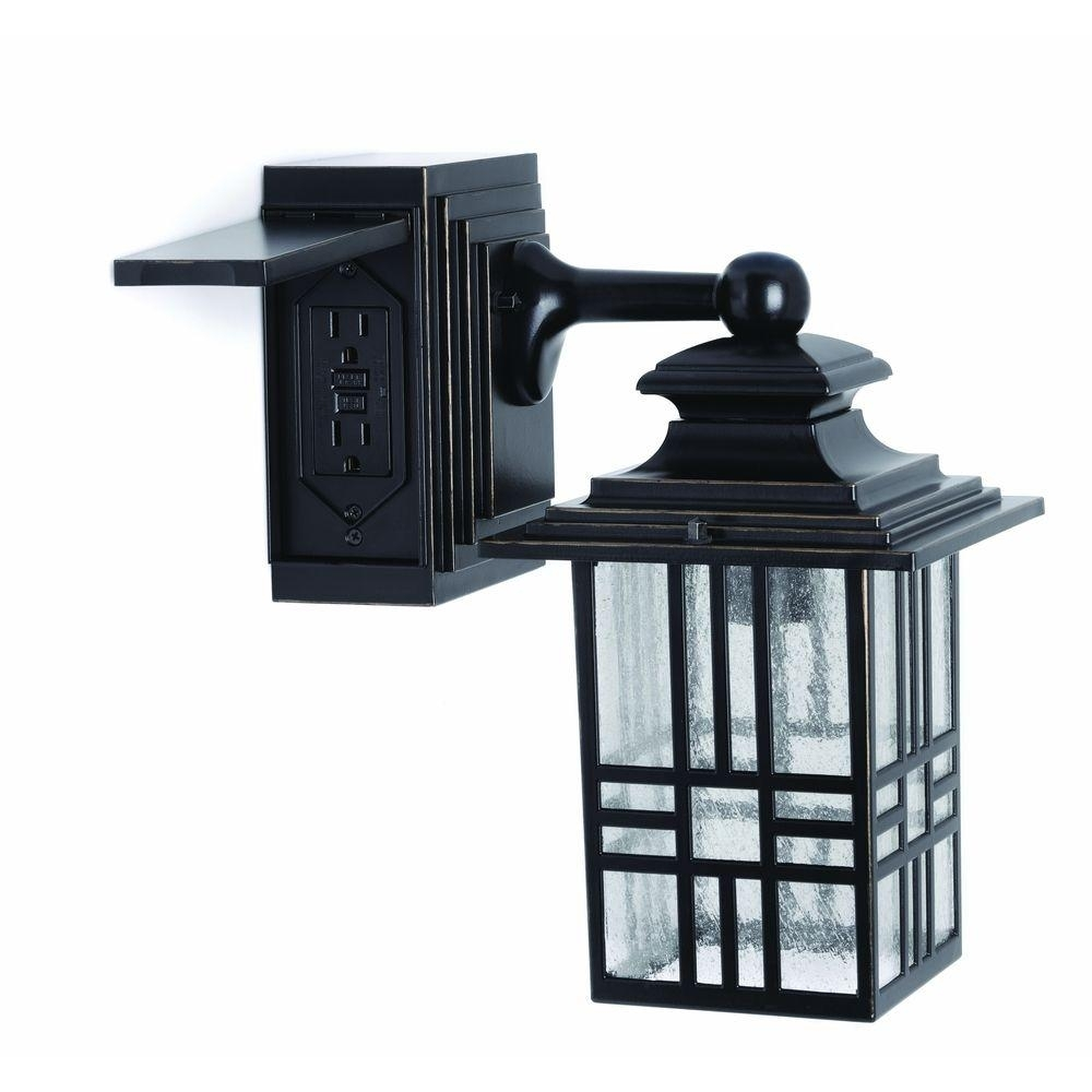 Hampton Bay Mission Style Black With Bronze Highlight Outdoor Wall Intended For Outdoor Porch Light Fixtures At Home Depot (#4 of 15)