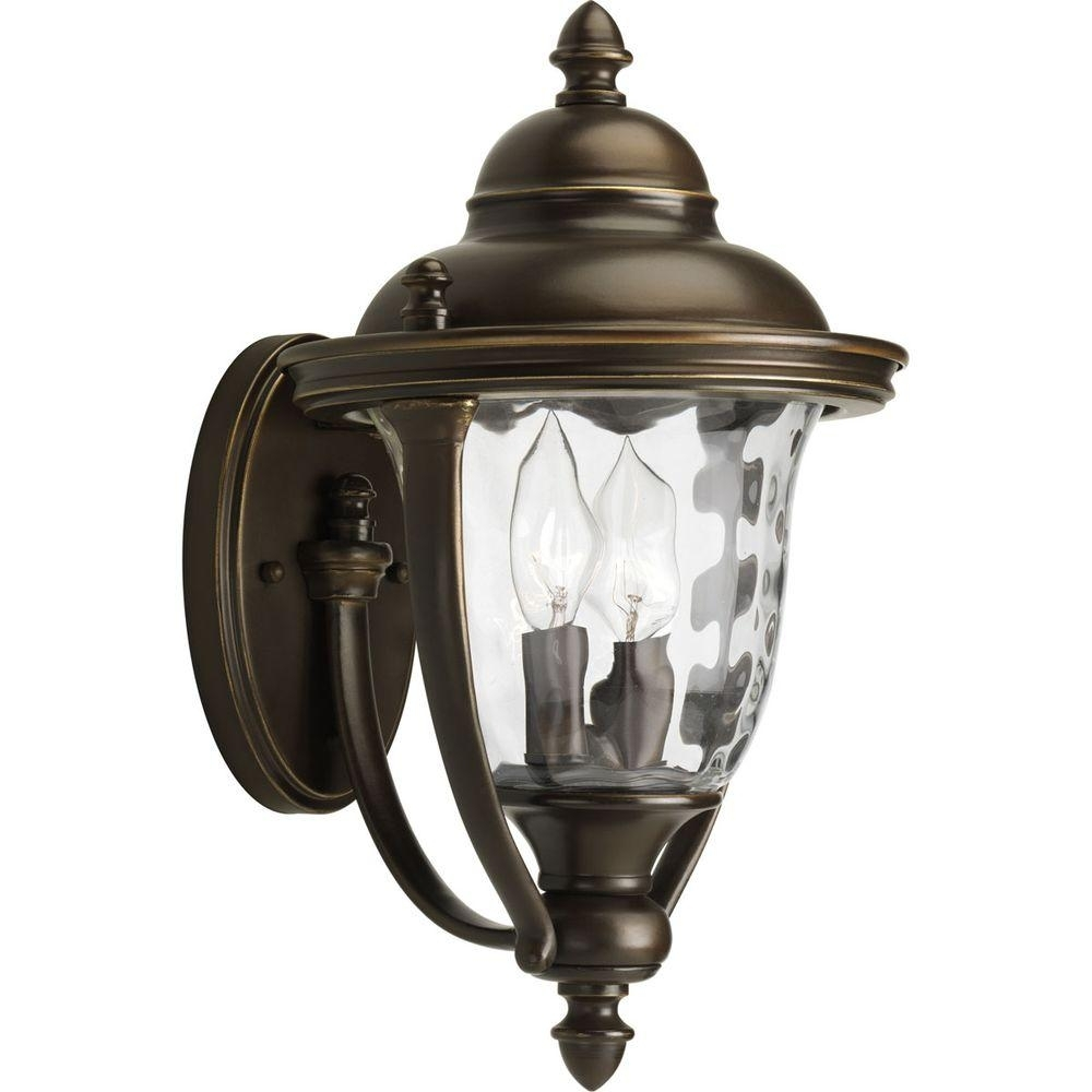 Hampton Bay Prestwick Collection 2 Light Oil Rubbed Bronze Outdoor With Bronze Outdoor Wall Lighting (#7 of 15)