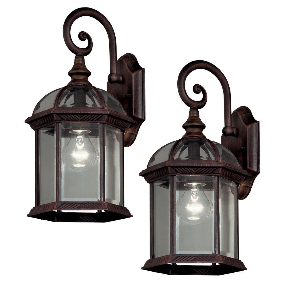 Hampton Bay Twin Pack 1 Light Weathered Bronze Outdoor Lantern 7072 Intended For Garden Porch Light Fixtures At Home Depot (#7 of 15)