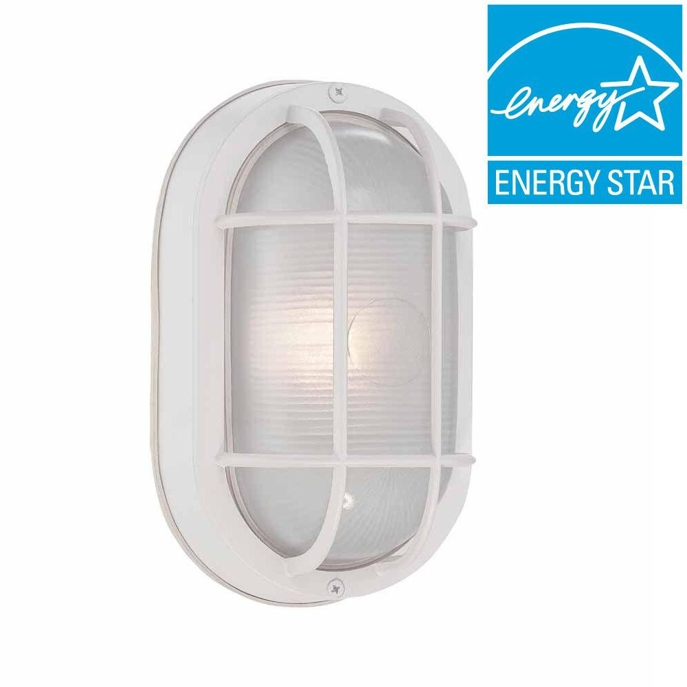 Hampton Bay White Outdoor Led Wall Lantern Hb8822Led 06 – The Home Depot Inside Plastic Outdoor Wall Lighting (View 12 of 15)