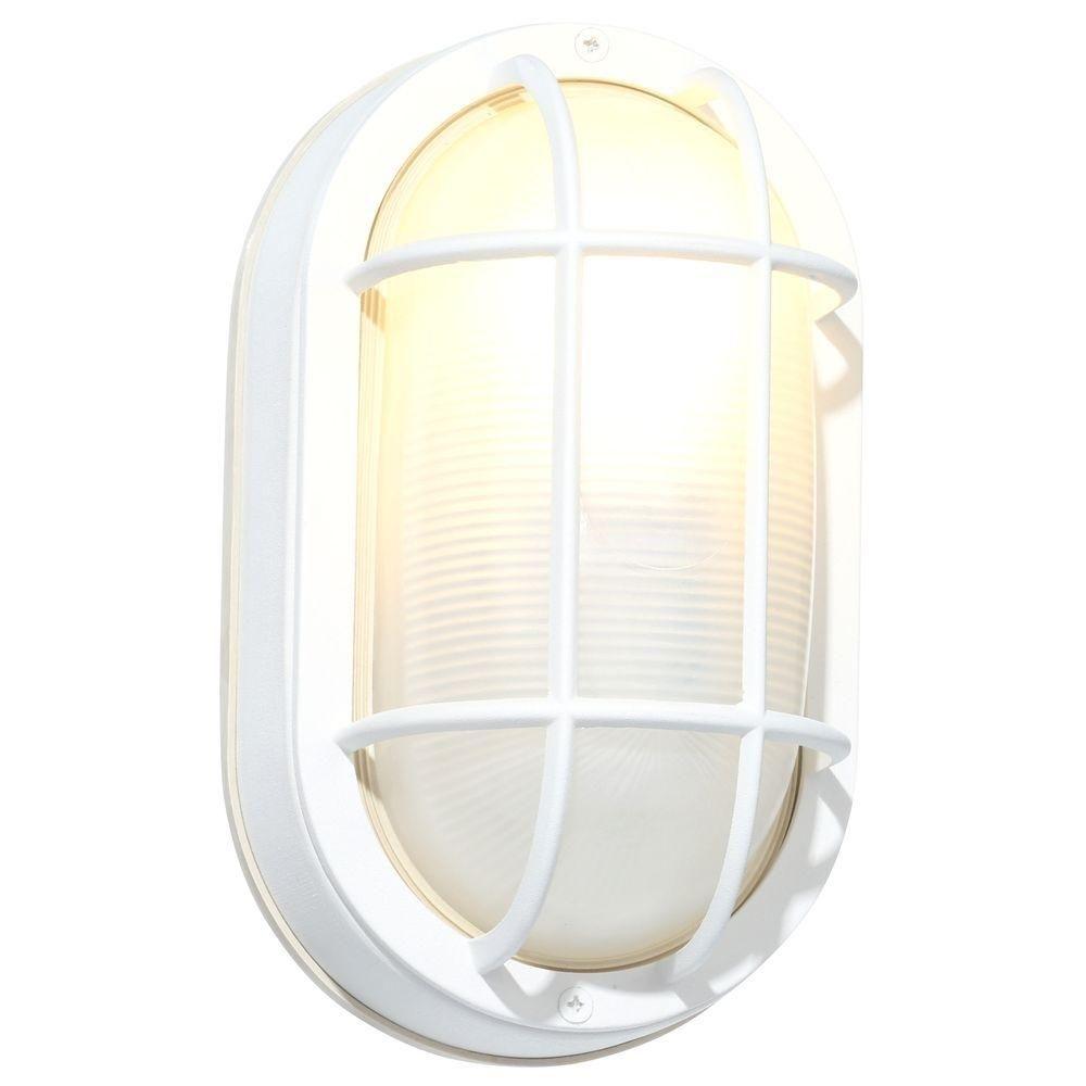 Hampton Bay White Outdoor Oval Bulkhead Wall Light Hb8822P 06 – The Throughout White Outdoor Wall Lighting (#6 of 15)