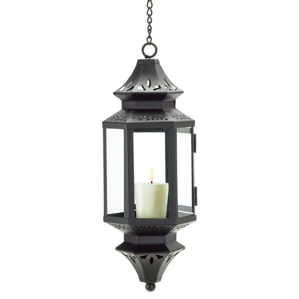 Hanging Lanterns, Moroccan Outdoor Candle Glass Metal Lantern Pertaining To Outdoor Hanging Lanterns Candles (View 6 of 15)