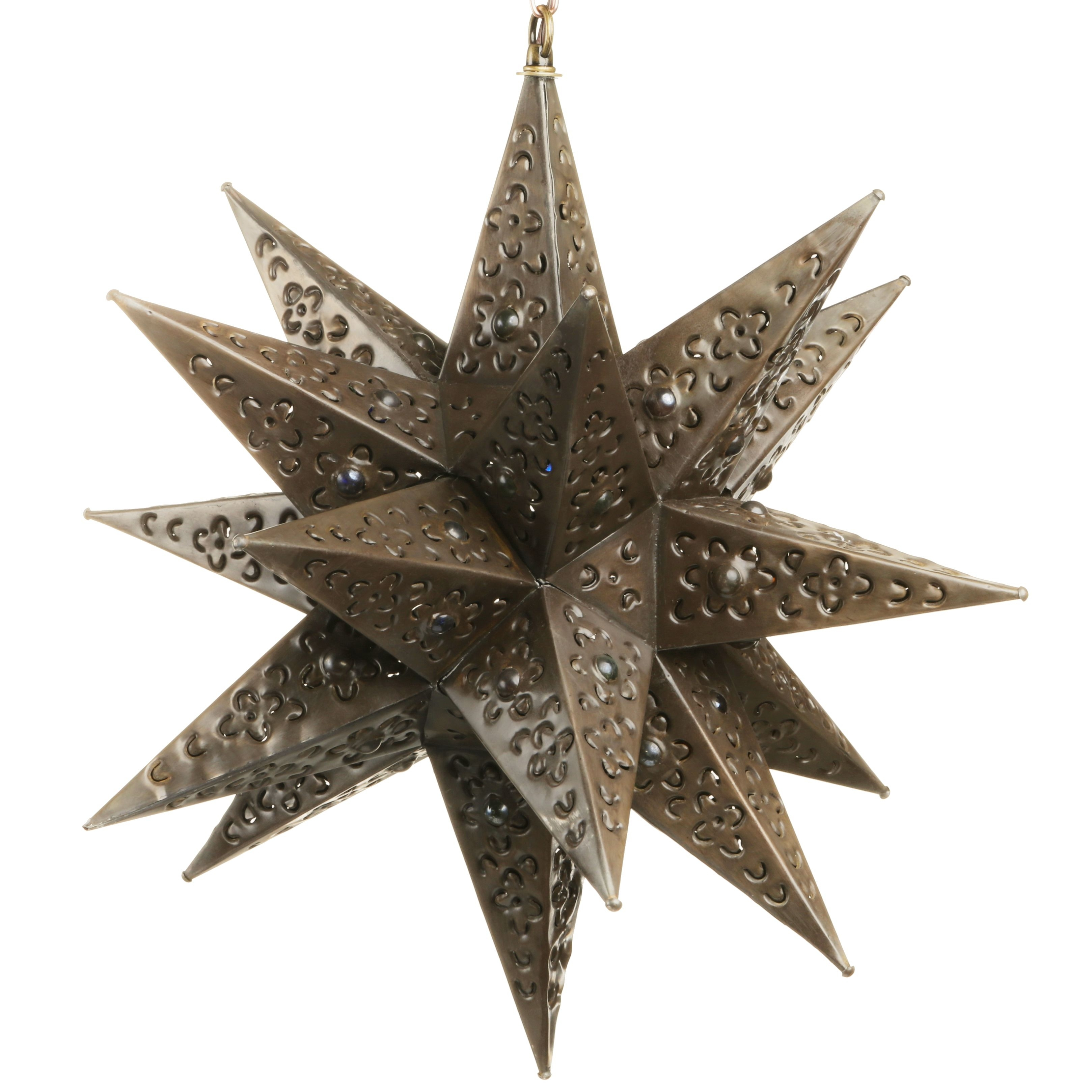 Hanging Mexican Punched Tin Star Light With Marbles (#7 of 15)