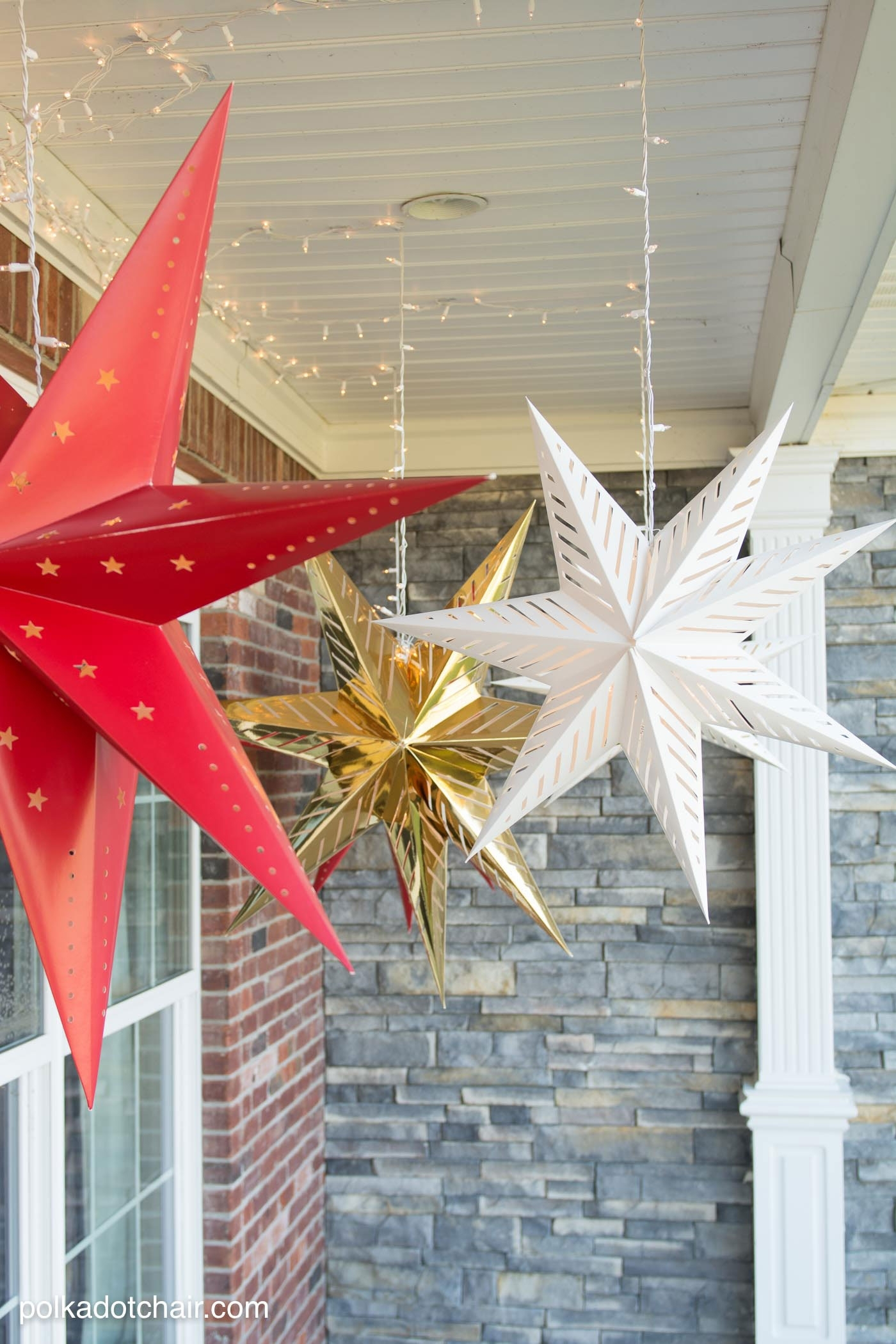 Hanging Star Lanterns; A Christmas Front Porch Decorating Idea – The Throughout Outdoor Hanging Star Lanterns (#7 of 15)