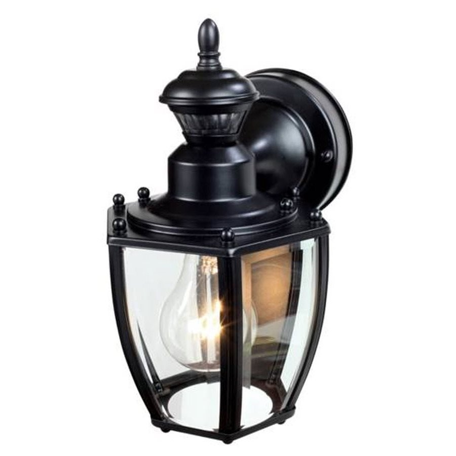 Heath Zenith 11 In H Black Motion Activated Outdoor Wall Light Throughout Heath Zenith Outdoor Wall Lighting (#11 of 15)