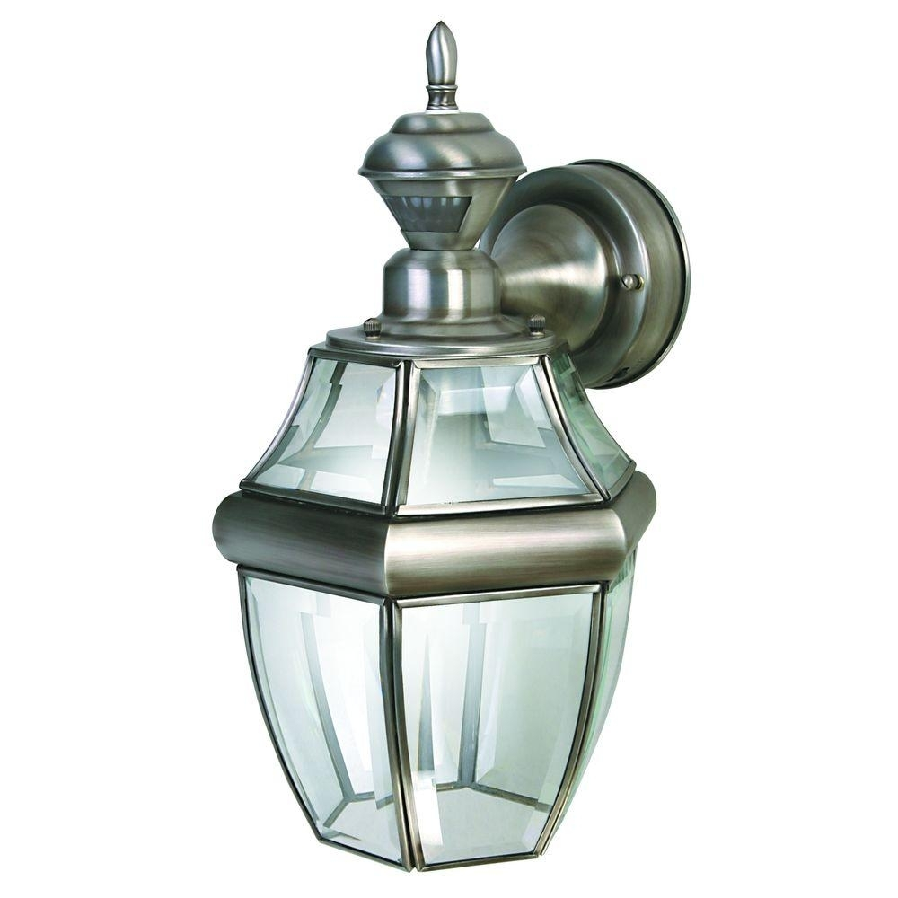 Heath Zenith 150 Degree Silver Hanging Carriage Lantern With Clear Throughout Motion Sensor Outdoor Hanging Lights (#5 of 15)