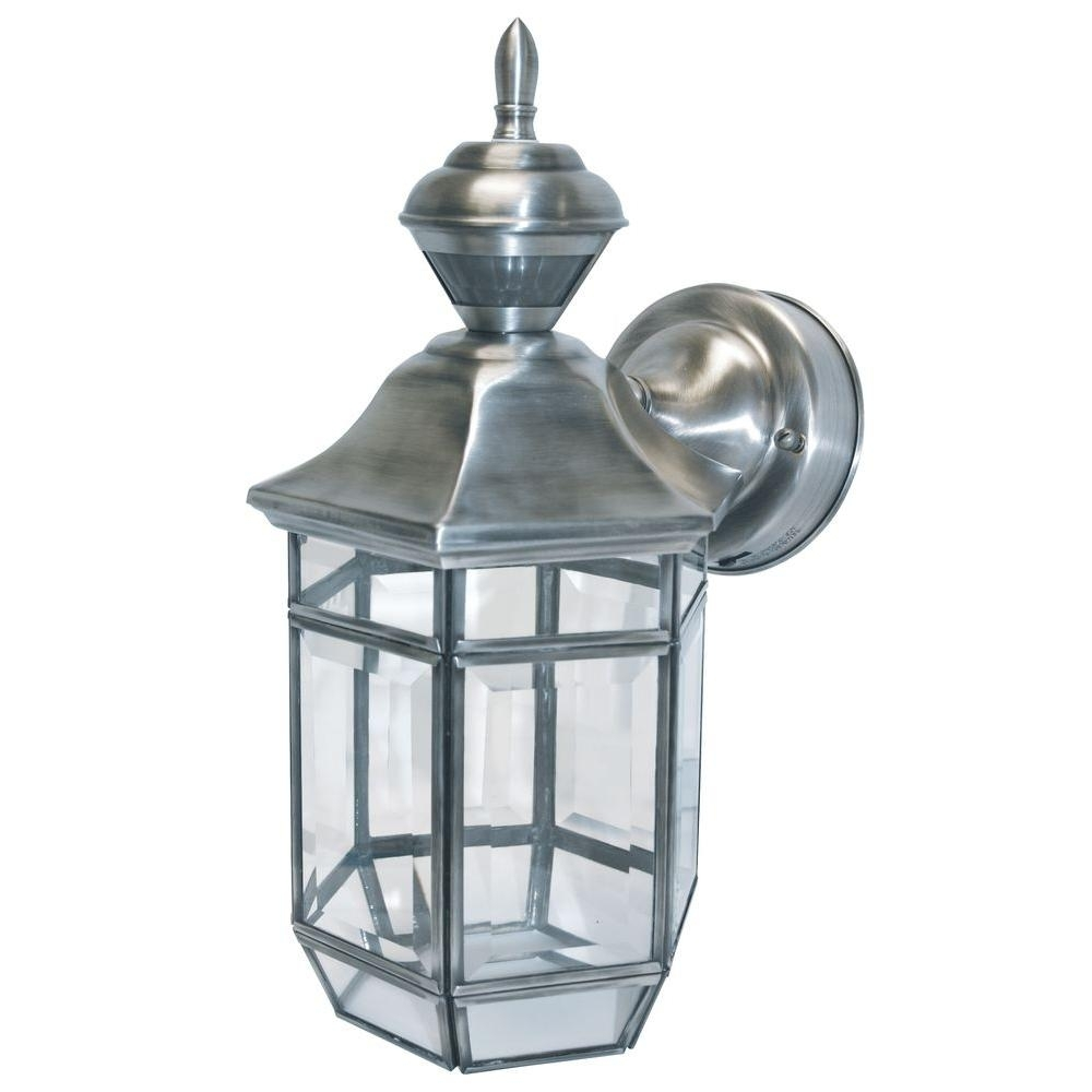 Heath Zenith 150 Degree Silver Lexington Lantern With Clear Beveled Regarding Heath Zenith Outdoor Wall Lighting (#8 of 15)