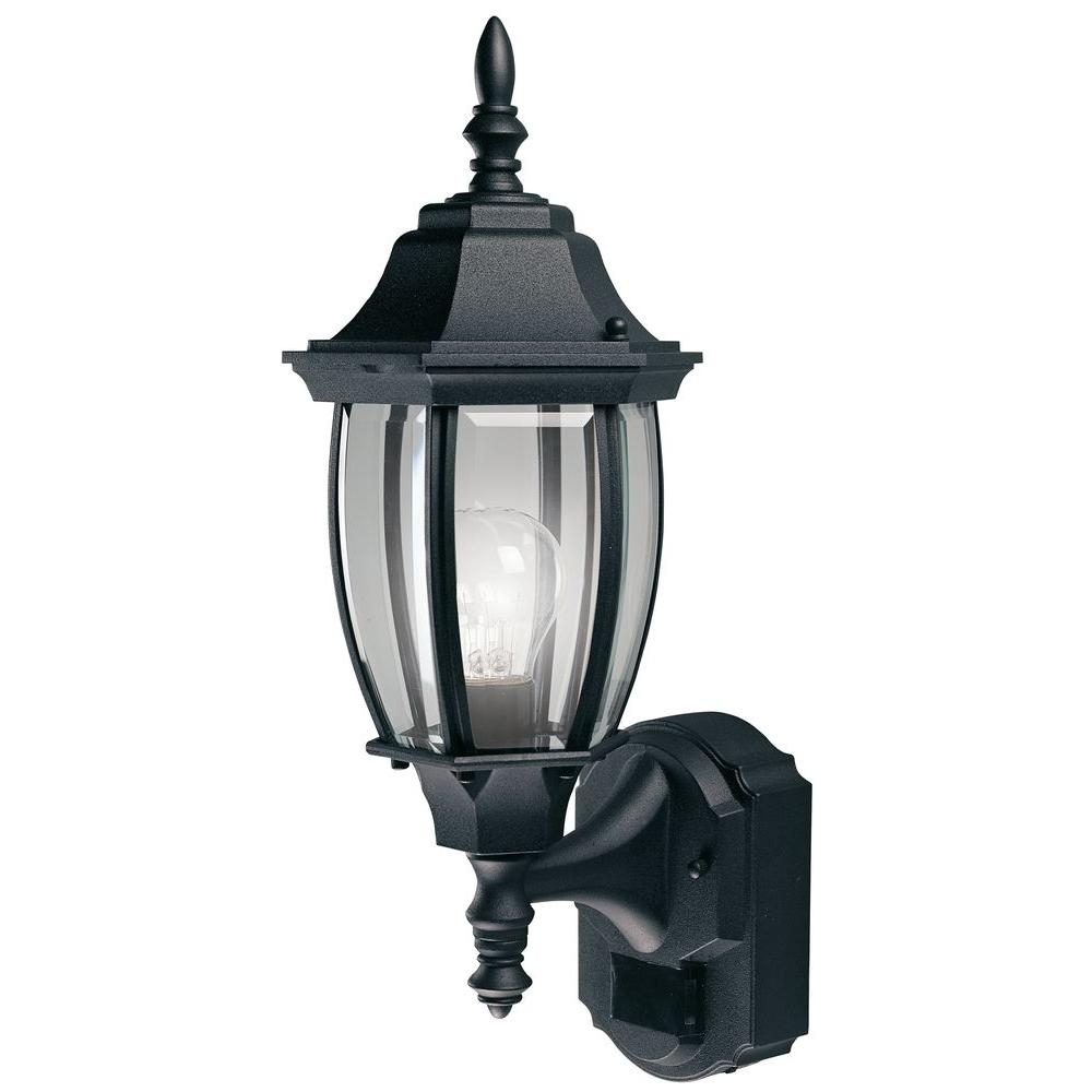 Heath Zenith 180 Degree Black Alexandria Lantern With Curved Beveled In Heath Zenith Outdoor Wall Lighting (#10 of 15)