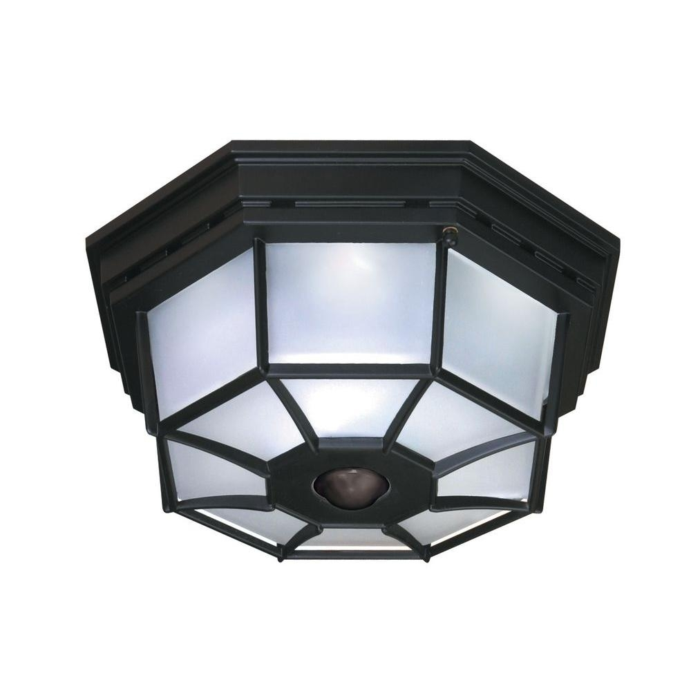 Heath Zenith 360 Degree 4 Light Black Motion Activated Octagonal Throughout Outdoor Ceiling Lights With Photocell (#3 of 15)