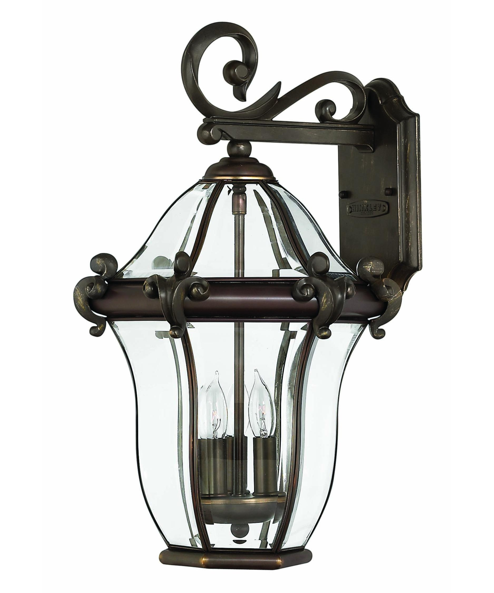 Hinkley Lighting 2444 San Clemente 12 Inch Wide 3 Light Outdoor Wall In Outdoor Wall Light Glass (#6 of 15)
