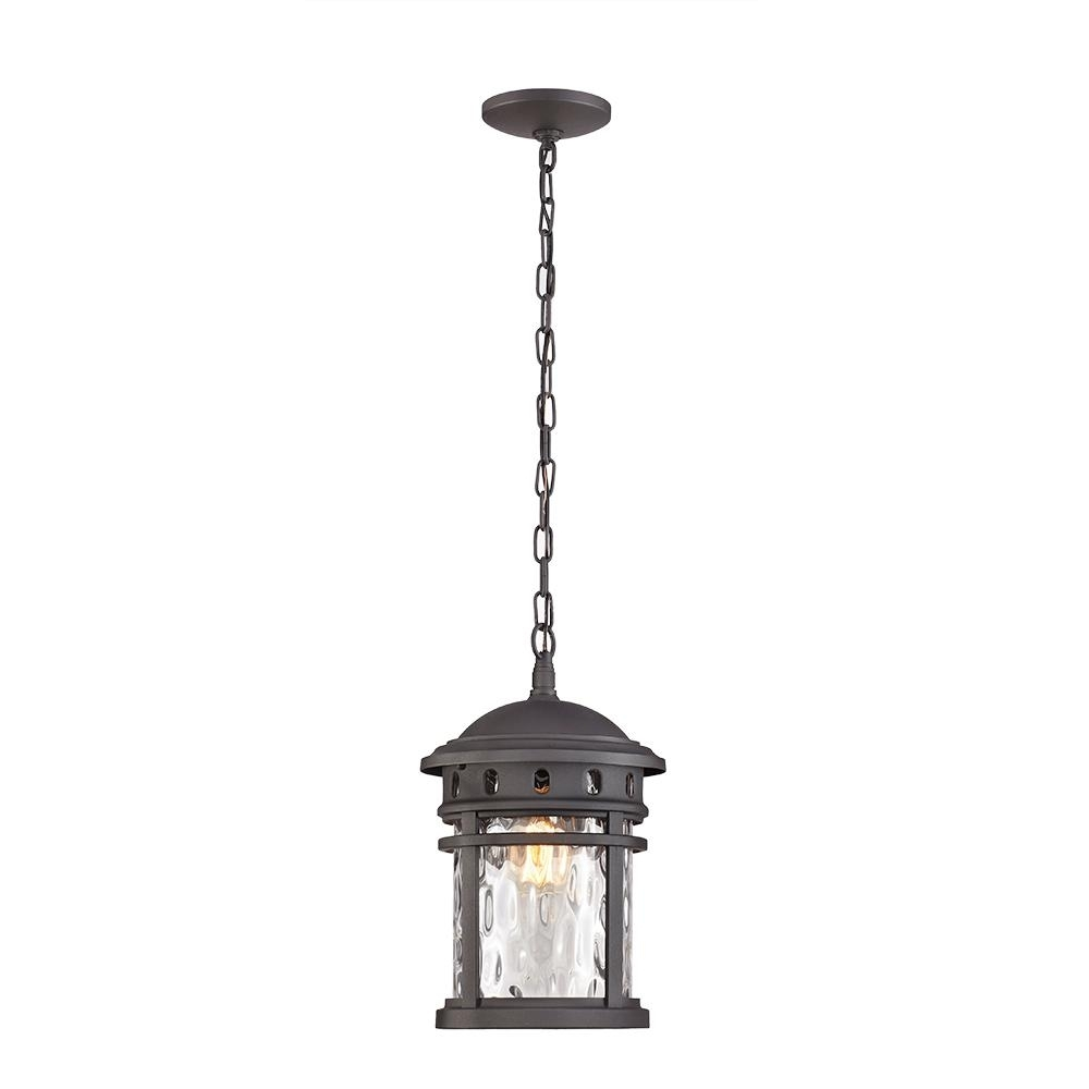 Home Decorators Collection 1 Light Black Outdoor Pendant C2374 – The Regarding Outdoor Hanging Light In Black (#4 of 15)